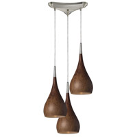 Lindsey 3 Light 10 inch Satin Nickel Pendant Ceiling Light in Burl Wood, Incandescent, Triangular Canopy