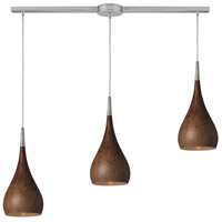 Lindsey 3 Light 36 inch Satin Nickel Linear Pendant Ceiling Light in Burl Wood, Incandescent, Linear with Recessed Adapter
