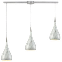Lindsey 3 Light 38 inch Satin Nickel Linear Pendant Ceiling Light in Linear with Recessed Adapter, GU10, Marble Print
