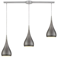 Lindsey 3 Light 38 inch Satin Nickel Linear Pendant Ceiling Light in Weathered Zinc, Linear with Recessed Adapter, GU10