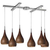 Lindsey 6 Light 33 inch Satin Nickel Pendant Ceiling Light in Burl Wood