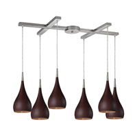 Lindsey 6 Light 33 inch Satin Nickel Pendant Ceiling Light in Dark Walnut