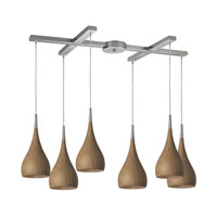 Lindsey 6 Light 33 inch Satin Nickel Pendant Ceiling Light in Medium Oak