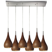 ELK 31341/6RC-BW Lindsey 6 Light 9 inch Satin Nickel Pendant Ceiling Light in Burl Wood, Incandescent, Rectangular Canopy