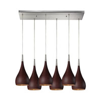 Lindsey 6 Light 30 inch Satin Nickel Pendant Ceiling Light in Dark Walnut