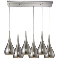 ELK 31341/6RC-SN Lindsey 6 Light 9 inch Satin Nickel Pendant Ceiling Light in Incandescent, Rectangular Canopy