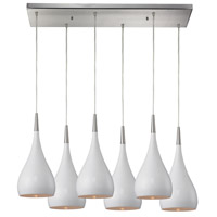 Lindsey 6 Light 30 inch Satin Nickel Pendant Ceiling Light in White Glass