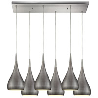 Lindsey 6 Light 30 inch Satin Nickel Pendant Ceiling Light in Weathered Zinc, Rectangular Canopy, GU10
