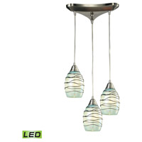 Vines LED 12 inch Satin Nickel Pendant Ceiling Light in 3, Triangular Canopy