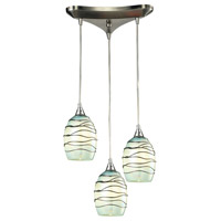 Vines 3 Light 10 inch Satin Nickel Pendant Ceiling Light in Incandescent, Triangular Canopy