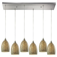 Crackle 6 Light 30 inch Satin Nickel Pendant Ceiling Light
