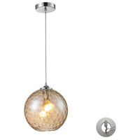 Watersphere 1 Light 10 inch Polished Chrome Pendant Ceiling Light in Champagne Glass, Recessed Adapter Kit