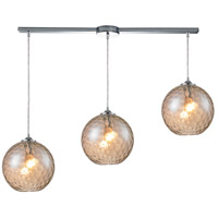 Watersphere 3 Light 36 inch Polished Chrome Pendant Ceiling Light in Champagne Glass