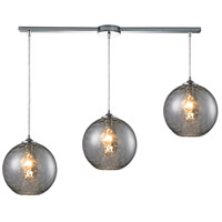 Watersphere 3 Light 36 inch Polished Chrome Pendant Ceiling Light in Smoke Glass