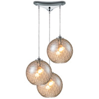 ELK 31380/3CMP Watersphere 3 Light 12 inch Polished Chrome Pendant Ceiling Light in Champagne, Triangular Canopy