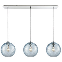 ELK 31380/3LP-AQ Watersphere 3 Light 36 inch Polished Chrome Linear Pendant Ceiling Light in Hammered Aqua Glass, Linear Pan