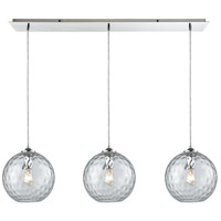 Watersphere 3 Light 36 inch Polished Chrome Linear Pendant Ceiling Light in Hammered Clear Glass, Linear Pan