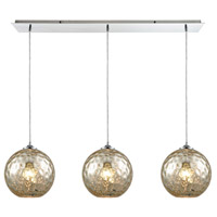 Watersphere 3 Light 36 inch Polished Chrome Linear Pendant Ceiling Light in Hammered Mercury Glass, Linear Pan