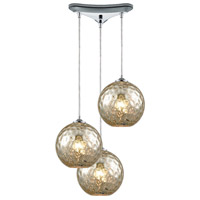 ELK 31380/3MRC Watersphere 3 Light 10 inch Polished Chrome Pendant Ceiling Light in Hammered Mercury Glass, Triangular Canopy, Triangle Pan