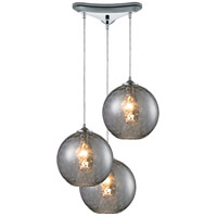 Watersphere 3 Light 12 inch Polished Chrome Pendant Ceiling Light in Smoke, Triangular Canopy