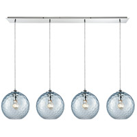 ELK 31380/4LP-AQ Watersphere 4 Light 46 inch Polished Chrome Linear Pendant Ceiling Light in Hammered Aqua Glass, Linear Pan