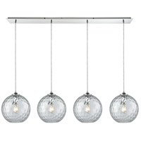 ELK 31380/4LP-CLR Watersphere 4 Light 46 inch Polished Chrome Linear Pendant Ceiling Light in Hammered Clear Glass, Linear Pan