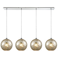ELK 31380/4LP-MRC Watersphere 4 Light 46 inch Polished Chrome Linear Pendant Ceiling Light in Hammered Mercury Glass, Linear Pan