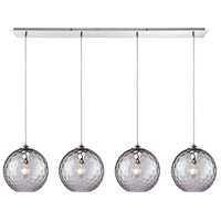 ELK 31380/4LP-PRP Watersphere 4 Light 46 inch Polished Chrome Linear Pendant Ceiling Light in Purple Hammered, Linear Pan