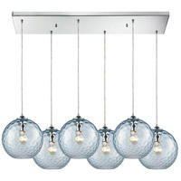 ELK 31380/6RC-AQ Watersphere 6 Light 30 inch Polished Chrome Pendant Ceiling Light in Hammered Aqua Glass, Rectangular Canopy