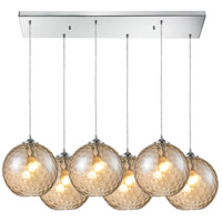 Watersphere 6 Light 17 inch Polished Chrome Pendant Ceiling Light in Champagne, Rectangular Canopy