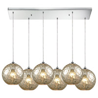 ELK 31380/6RC-MRC Watersphere 6 Light 30 inch Polished Chrome Pendant Ceiling Light in Hammered Mercury Glass, Rectangular Canopy