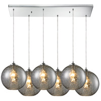 ELK Lighting Watersphere 6 Light Pendant in Polished Chrome and SMK Shade 31380/6RC-SMK
