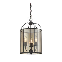 ELK Lighting Fenton 3 Light Chandelier in Oil Rubbed Bronze with Light Amber Glass 31396/3