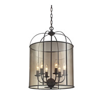 ELK Lighting Fenton 6 Light Chandelier in Oil Rubbed Bronze with Light Amber Glass 31398/6