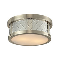 Diamond Plate 2 Light 12 inch Brushed Nickel Flush Mount Ceiling Light in Standard