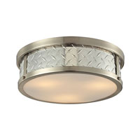Diamond Plate 3 Light 16 inch Brushed Nickel Flush Mount Ceiling Light in Standard