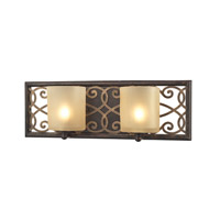 ELK Lighting Santa Monica 2 Light Vanity in Weatbered Bronze with Gold Highlights with Frosted Amber Glass 31437/2