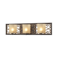 ELK Lighting Santa Monica 3 Light Vanity in Weatbered Bronze with Gold Highlights with Frosted Amber Glass 31438/3