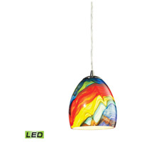 Colorwave LED 6 inch Satin Nickel Pendant Ceiling Light in Rainbow Streak Glass
