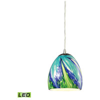 ELK 31445/1TB-LED Colorwave LED 6 inch Satin Nickel Pendant Ceiling Light in Tropics Glass, 1