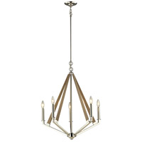 ELK 31475/5 Madera 5 Light 24 inch Polished Nickel with Taupe Chandelier Ceiling Light