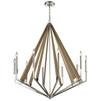 ELK 31476/10 Madera 10 Light 45 inch Polished Nickel with Taupe Chandelier Ceiling Light