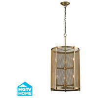 Elk Lighting HGTV Home Rialto 6 Light Pendant in Aged Brass 31484/3+3