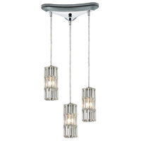 ELK 31487/3 Cynthia 3 Light 10 inch Polished Chrome Mini Pendant Ceiling Light in Triangular Canopy Triangular