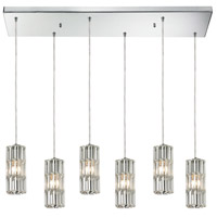 Cynthia 6 Light 9 inch Polished Chrome Mini Pendant Ceiling Light in Rectangular Canopy, Rectangular
