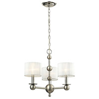 Meridian 3 Light 19 inch Polished Nickel & Matte Nickel Chandelier Ceiling Light