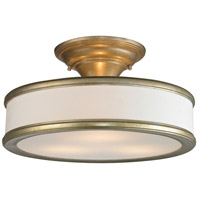 ELK Lighting Clarkton 3 Light Semi Flush in Aged Silver with White Fabric Shade 31519/3
