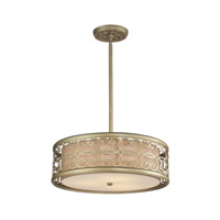 ELK Lighting Santa Monica 3 Light Pendant in Aged Silver with Champagne Fabric Shade 31523/3