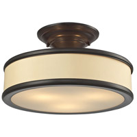 ELK Lighting Clarkton 3 Light Semi Flush in Oil Rubbed Bronze with Beige Fabric Shade 31529/3