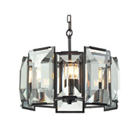 ELK Lighting Garrett 5 Light Pendant in Oil Rubbed Bronze with Clear Crystal Shade 31566/5